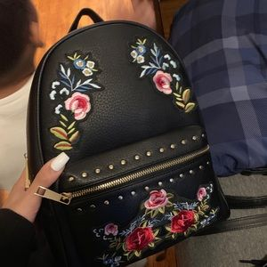 Mini purse backpack with rose patches
